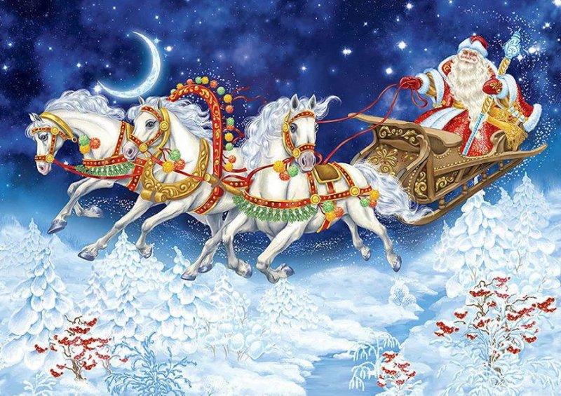 театр новогодние картинки с дедом морозом на санях и с елкой красивые можете